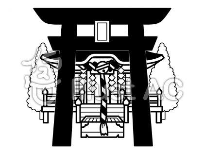 神社の無料フリーイラスト素材白黒モノクロ