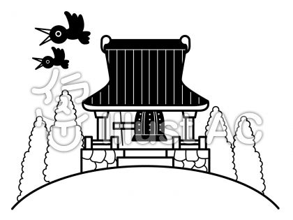 お堂の無料フリーイラスト素材白黒モノクロ