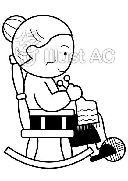揺り椅子1の無料フリーイラスト素材白黒モノクロ