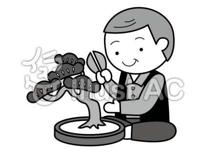 盆栽の無料フリーイラスト素材グレースケール