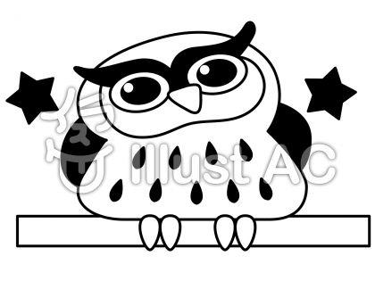 フクロウの無料フリーイラスト素材白黒モノクロ