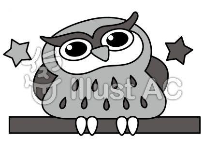 フクロウの無料フリーイラスト素材グレースケール