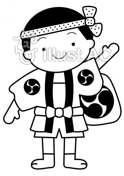 はっぴ男の子の無料フリーイラスト素材白黒モノクロ