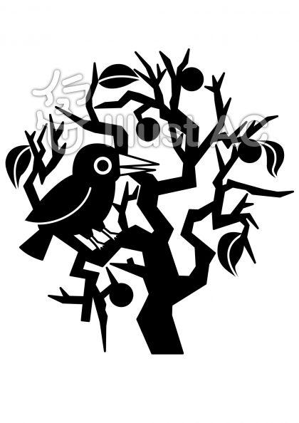 柿の木とカラスの無料フリーイラスト素材白黒モノクロ