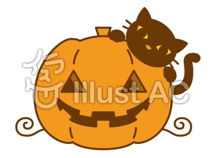 南瓜と猫の無料フリーイラスト素材