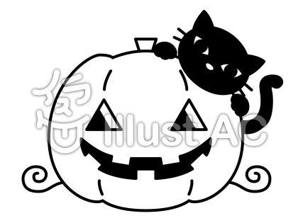 南瓜と猫の無料フリーイラスト素材白黒モノクロ