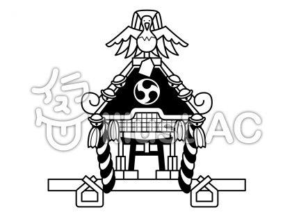 神輿の無料フリーイラスト素材白黒モノクロ