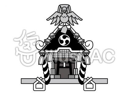 神輿の無料フリーイラスト素材グレースケール