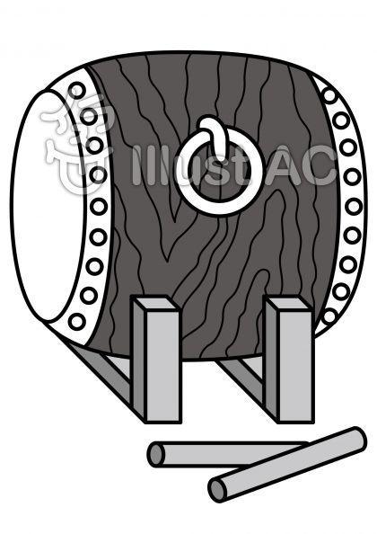 太鼓の無料フリーイラスト素材グレースケール