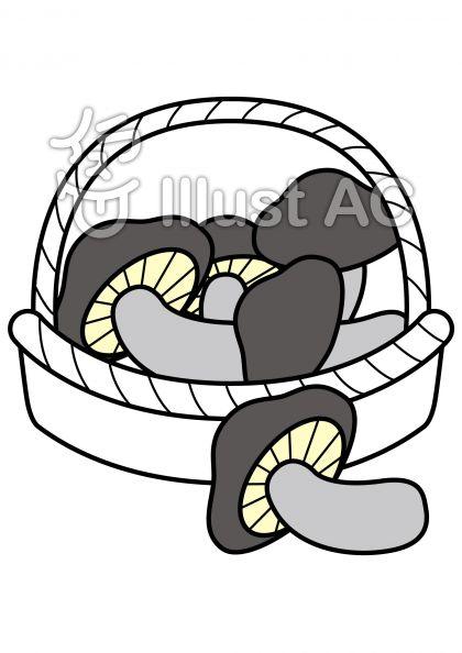 椎茸の無料フリーイラスト素材グレースケール