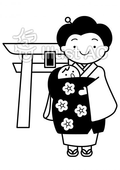 お宮参りの無料フリーイラスト素材白黒モノクロ