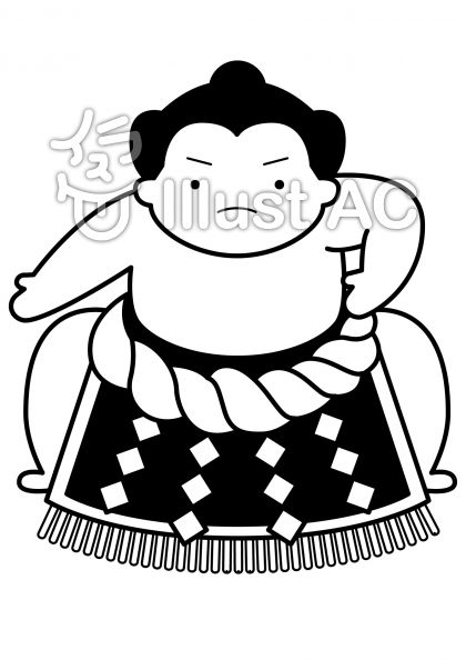 土俵入りの無料フリーイラスト素材白黒モノクロ