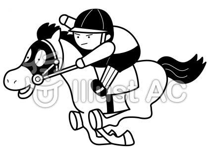競馬の無料フリーイラスト素材白黒モノクロ
