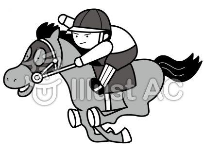 競馬の無料フリーイラスト素材グレースケール