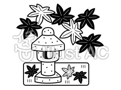 石灯籠の無料フリーイラスト素材白黒モノクロ