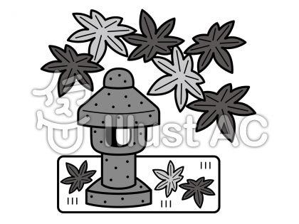石灯籠の無料フリーイラスト素材グレースケール