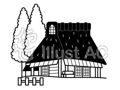 古民家の無料フリーイラスト素材白黒モノクロ