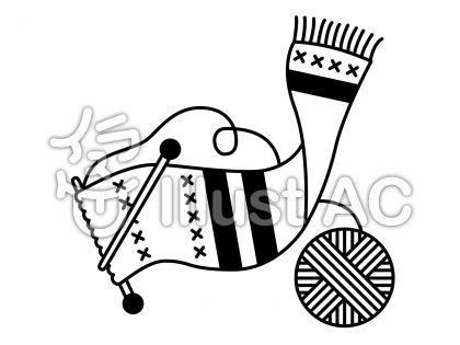 編物の無料フリーイラスト素材白黒モノクロ