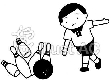 ボーリングの無料フリーイラスト素材白黒モノクロ