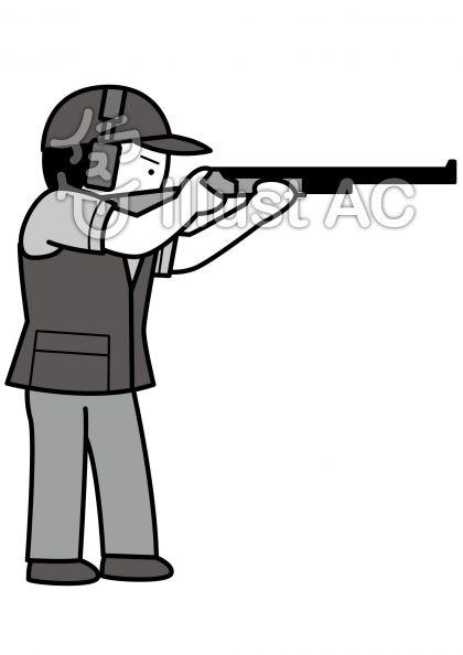 クレー射撃の無料フリーイラスト素材グレースケール