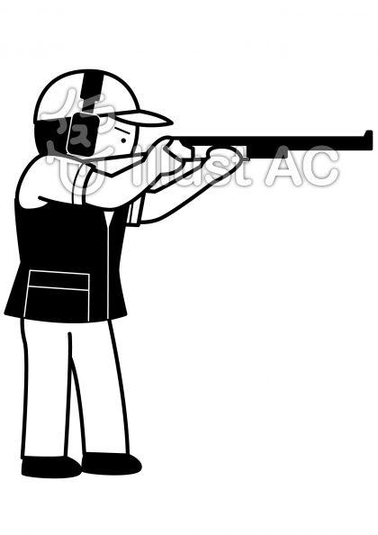 クレー射撃の無料フリーイラスト素材白黒モノクロ