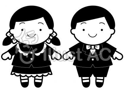 子供正装の無料フリーイラスト素材白黒モノクロ