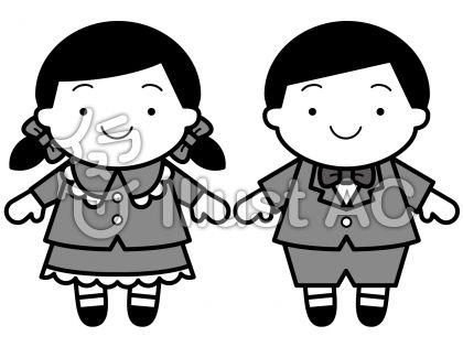 子供正装の無料フリーイラスト素材グレースケール