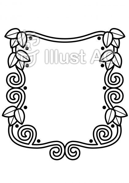 ツタの枠の無料フリーイラスト素材白黒モノクロ