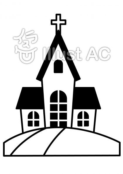 教会の無料フリーイラスト素材白黒モノクロ