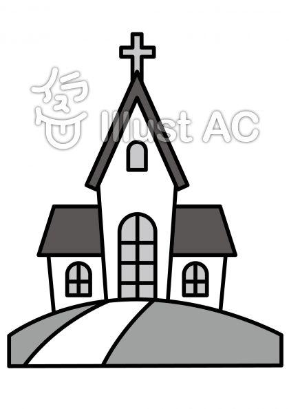 教会の無料フリーイラスト素材グレースケール