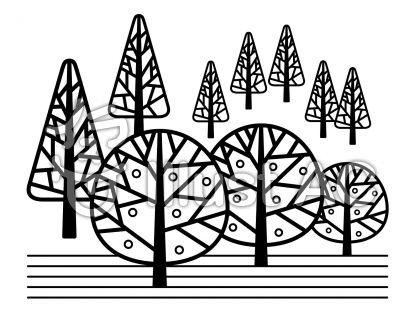 森の無料フリーイラスト素材白黒モノクロ