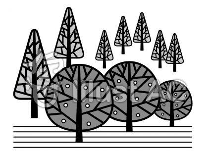 森の無料フリーイラスト素材グレースケール