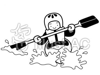 カヌーの無料フリーイラスト素材白黒モノクロ