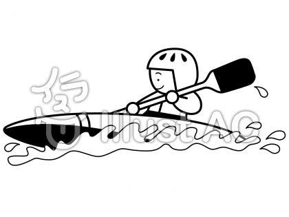 カヌー2の無料フリーイラスト素材白黒モノクロ