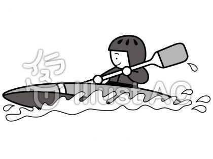 カヌー2の無料フリーイラスト素材グレースケール