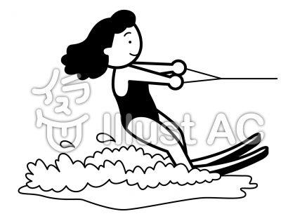 水上スキー1の無料フリーイラスト素材白黒モノクロ
