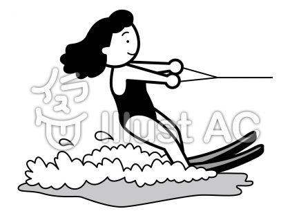 水上スキー1の無料フリーイラスト素材グレースケール