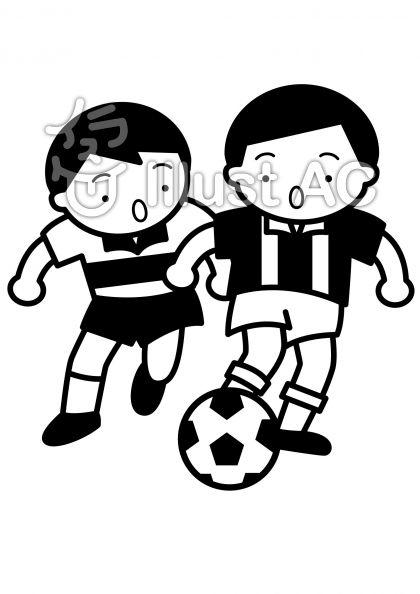 サッカー2の無料フリーイラスト素材白黒モノクロ