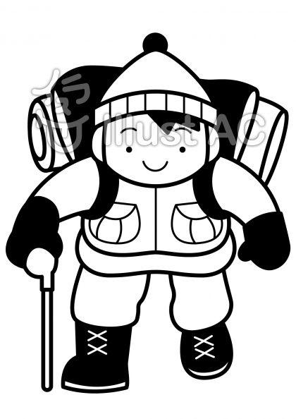 登山3の無料フリーイラスト素材白黒モノクロ