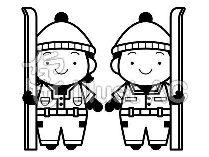 スキーカップルの無料フリーイラスト素材白黒モノクロ