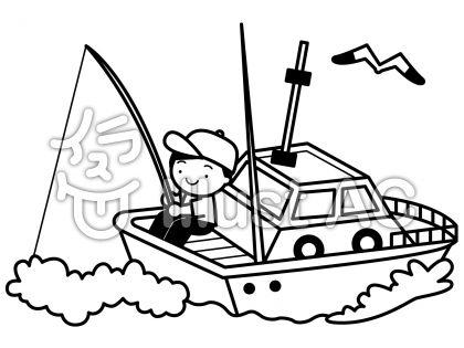 船釣りの無料フリーイラスト素材白黒モノクロ