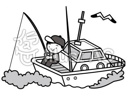 船釣りの無料フリーイラスト素材グレースケール