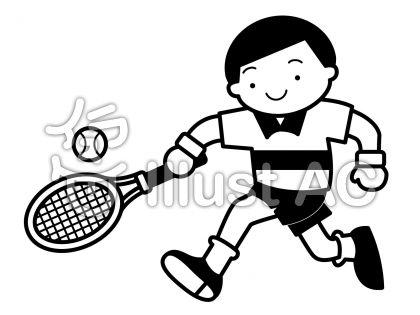 テニス1の無料フリーイラスト素材白黒モノクロ