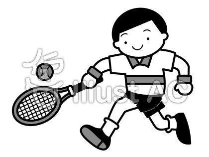 テニス1の無料フリーイラスト素材グレースケール