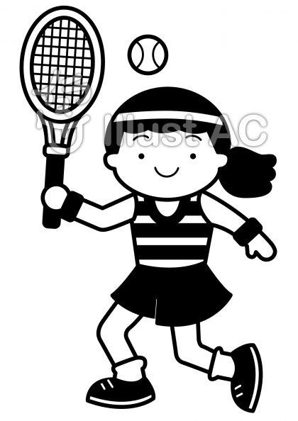 テニス2の無料フリーイラスト素材白黒モノクロ