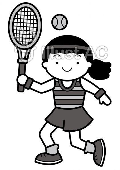 テニス2の無料フリーイラスト素材グレースケール