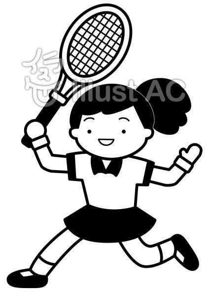テニス3の無料フリーイラスト素材白黒モノクロ