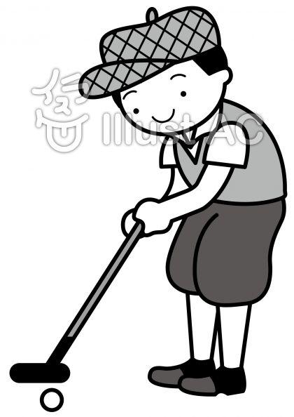 ゴルフの無料フリーイラスト素材グレースケール