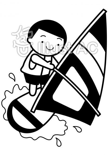 ヨット2の無料フリーイラスト素材白黒モノクロ