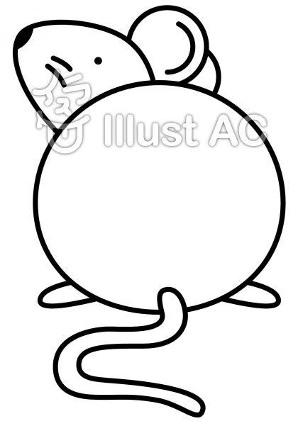 ねずみの無料フリーイラスト素材白黒モノクロ